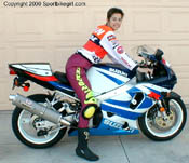 October 2000- Me on my borrowed Gixxer 750-- take note of Doohan replica shirt and new hair do!